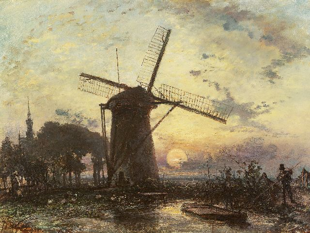 Jongkind J.B.  | Windmill at sunset near Overschie, oil on canvas, 42.3 x 56.2 cm, signed l.l. and dated 1859