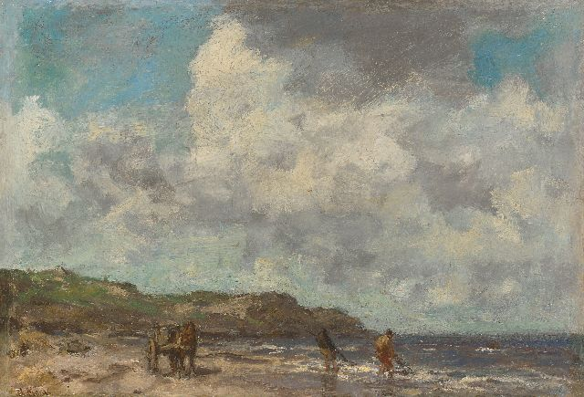 Jacob Maris | Shell fishermen in the breakers, oil on panel, 26.3 x 37.5 cm, signed l.l.