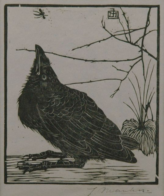 Jan Mankes | A crow watching a mosquito, woodcut on coloured paper, 11.7 x 10.1 cm, signed l.r. in full (in pencil) and w. mon. in the block and executed in 1918