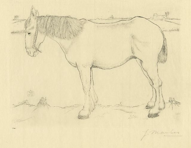Jan Mankes | Standing horse, copper engraving on paper, 14.0 x 17.5 cm, signed l.r. in full (in pencil) and with mon. n the plate and executed in 1917