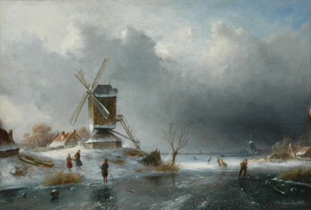 Charles Leickert | A windmill along a frozen river, oil on panel, 26.0 x 38.0 cm, signed l.r.