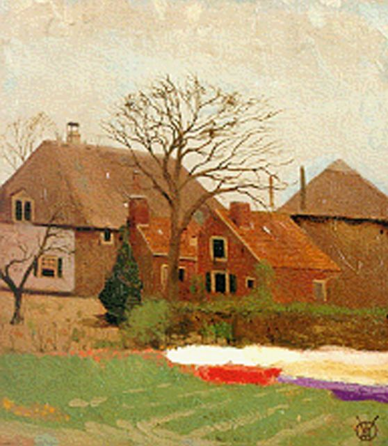 Gerrit Willem Dijsselhof | The farm 'Bronstee' in Heemstede, oil on canvas laid down on panel, 23.8 x 21.1 cm, signed l.r. with monogram and executed in 1906