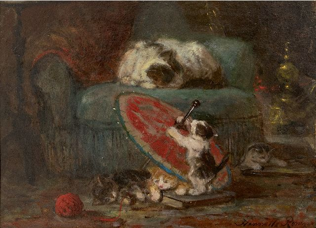 Henriette Ronner-Knip | Kittens playing with a Japanese parasol, oil on paper laid down on panel, 27.3 x 36.8 cm, signed l.r. and l.l. and painted ca. 1890