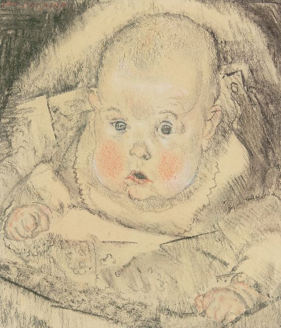 Jan Sluijters | Portrait of a baby, charcoal and chalk on paper, 29.0 x 25.3 cm, signed u.l.