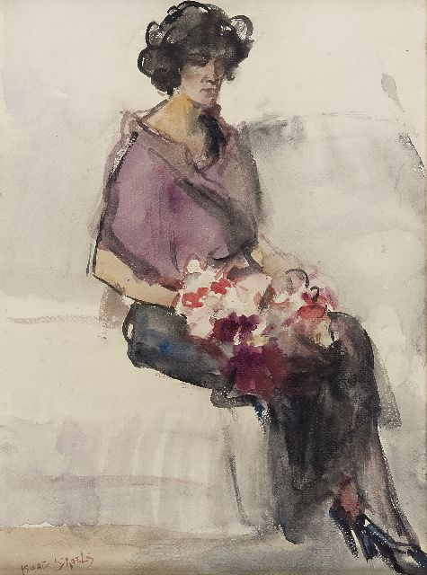 Israels I.L.  | Seated lady with flowers in Bern, watercolour on paper, 39.8 x 29.8 cm, signed l.l.