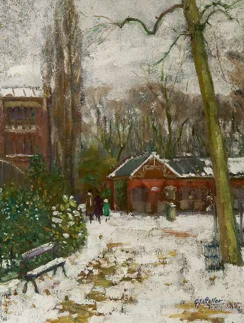 Staller G.J.  | Artis in wintertime, oil on canvas 53.3 x 41.3 cm, signed l.r. and painted ca. 1910