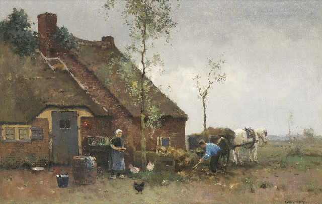 Cornelis Vreedenburgh | A busy farmyard, oil on canvas, 58.4 x 89.0 cm, signed l.r.