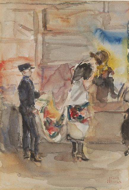 Israels I.L.  | In the cloth shop of Wijnman, The Hague, watercolour on paper, 51.1 x 35.5 cm, signed l.r. and painted circa 1925-1926