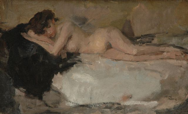 Isaac Israels | Reclining female nude, oil on canvas, 40.7 x 65.5 cm, signed l.r. and executed ca. 1898-1906