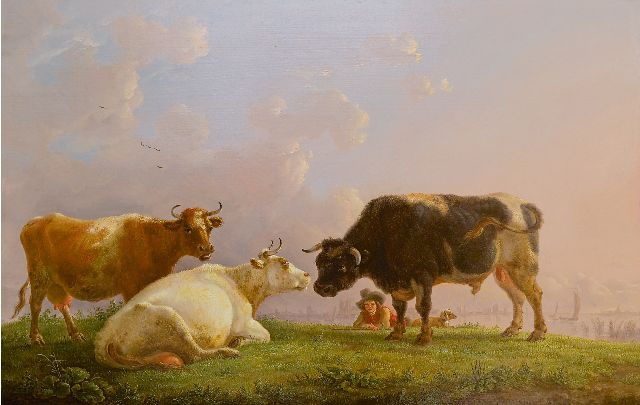 Jean Baptiste De Roy | A shepherd with cows and a bull, a town in the distance, oil on panel, 41.5 x 64.5 cm, signed l.r. and painted ca. 1825-1835