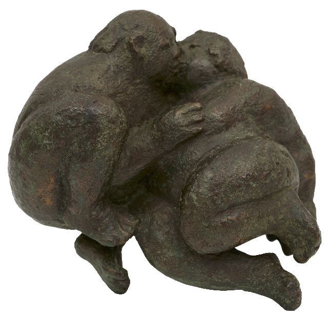 Kratz M.  | Caressing couple, patinated bronze 8.0 x 14.0 cm, signed with monogram at the bottom