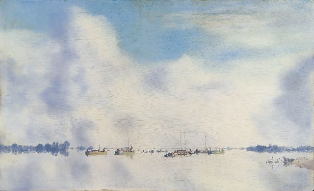 Jan Voerman sr. | The river IJssel with sailing vessels, oil on board, 45.5 x 75.1 cm, signed l.r.