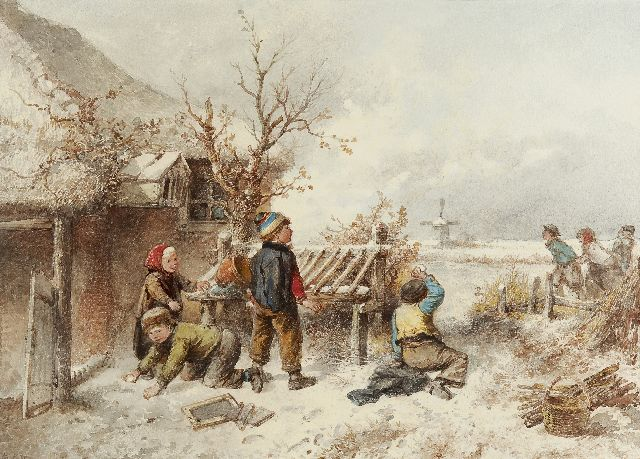 Mari ten Kate | The snowball fight and skaters, watercolour on paper, 37.0 x 52.0 cm, signed l.l.