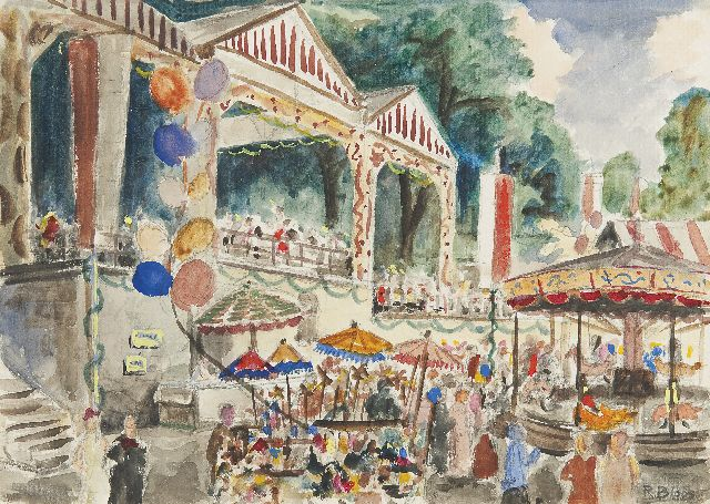 Richard Bloos | The fair, pencil and watercolour on paper, 24.3 x 33.1 cm, signed l.r. and l.r. dated (indistinctly, in pencil) 1950