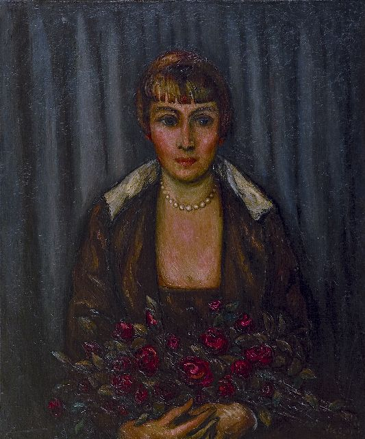 Matthieu Wiegman | A woman with a bouquet of roses, oil on canvas, 65.2 x 54.2 cm, signed l.r. and dated 'Paris '20'
