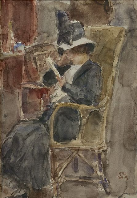 Israels I.L.  | A woman, reading, watercolour on paper, 50.7 x 35.4 cm, signed l.r.