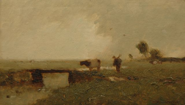 Aris Knikker | Farmer with cow in a polder landschape, oil on panel, 13.9 x 23.8 cm, signed l.r.