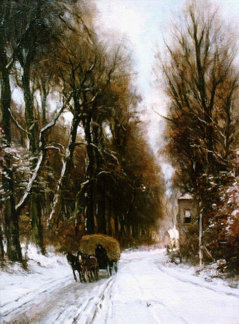 Louis Apol | A hay-wagon in a snow-covered landscape, oil on canvas, 70.2 x 55.4 cm, signed l.l.