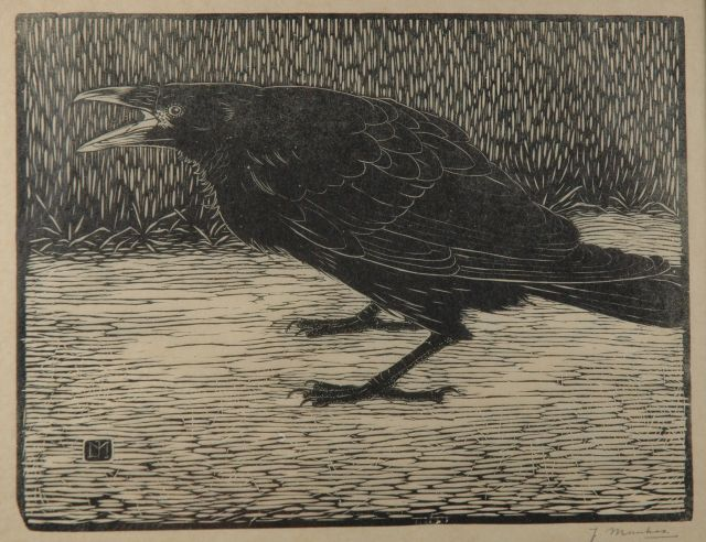 Jan Mankes | Screaming crow, woodcut on paper, 18.3 x 23.8 cm, signed l.r. in full (in pencil) and with mon. in the bloc and executed in 1918