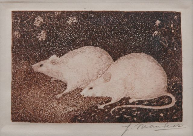 Jan Mankes | Two mice, etching on paper, 6.5 x 10.2 cm, signed l.r. (in pencil) and executed in 1916