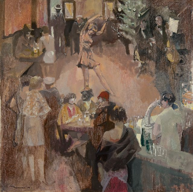 Bervoets L.  | Café dansant, oil on canvas 80.4 x 80.2 cm, signed l.l.