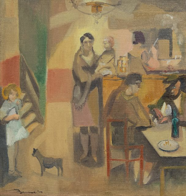 Leo Bervoets | The cafeteria, oil on canvas, 34.2 x 32.1 cm, signed l.l.