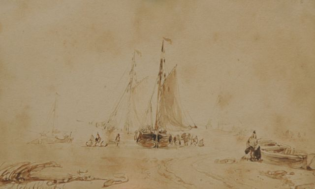 Andreas Schelfhout | Fishermen and fishing smacks on the beach, sepia on paper, 9.0 x 14.0 cm, signed l.l.