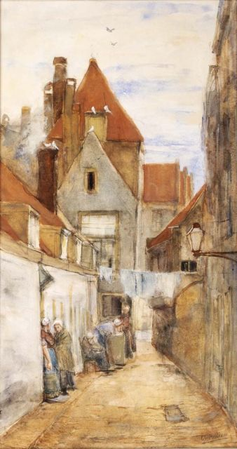 George Hendrik Breitner | An alley in Rotterdam, watercolour on paper, 51.8 x 27.8 cm, signed l.r.
