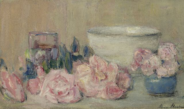 Anna Abrahams | Still life with pink roses, oil on canvas, 30.5 x 50.0 cm, signed l.r.