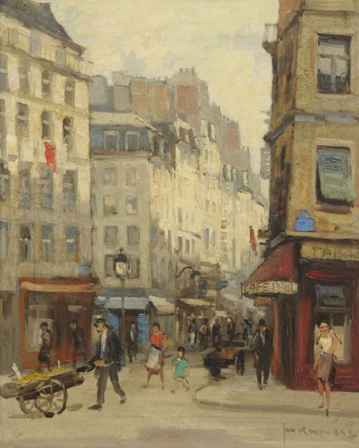 Jan Korthals | a street near 'Les Halles', Paris, oil on canvas, 50.0 x 40.2 cm, signed l.r.