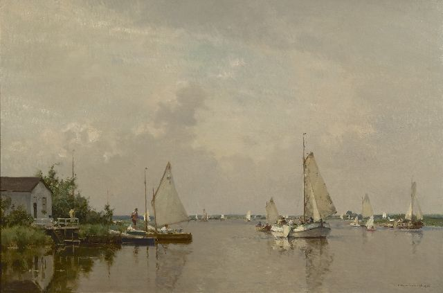 Cornelis Vreedenburgh | A view of a lake with a lemsteraak and other sailing vessels, oil on canvas, 60.2 x 90.2 cm, signed l.r. and dated 1936