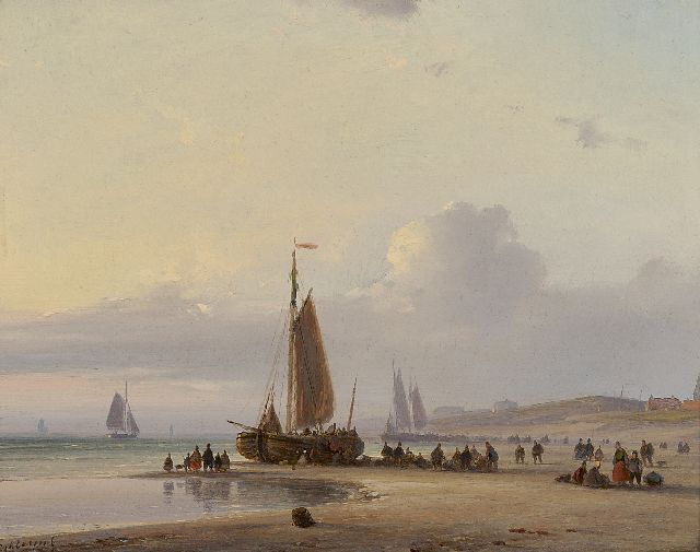 Lodewijk Johannes Kleijn | A fishing boat and fishermen on the beach of Scheveningen, oil on panel, 18.7 x 23.5 cm, signed l.l.