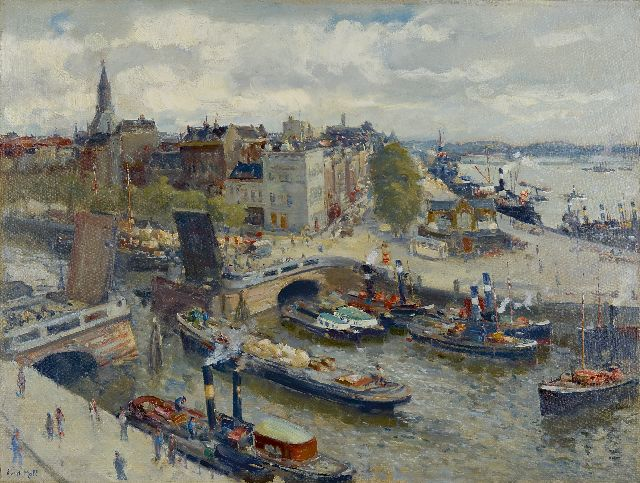 Evert Moll | A view of de Boompjes, Rotterdam, oil on canvas, 61.0 x 80.7 cm, signed l.l.