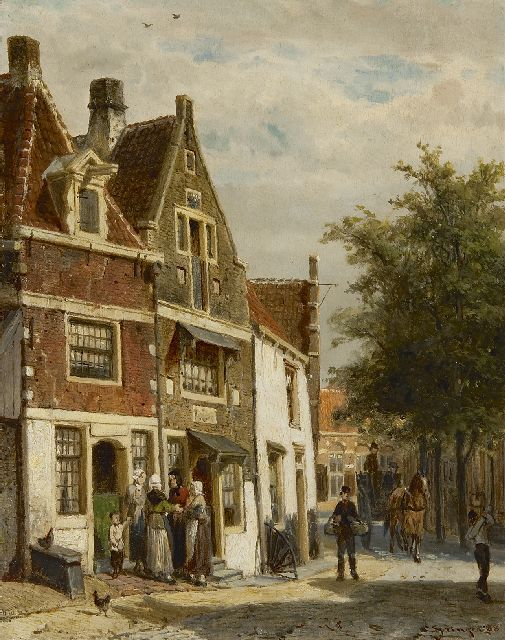 Springer C.  | The Leliestraat in Hoorn, oil on panel 25.0 x 19.8 cm, signed l.r. and dated '88