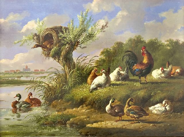 Albertus Verhoesen | Poulty near the waterfront, oil on panel, 20.7 x 27.0 cm
