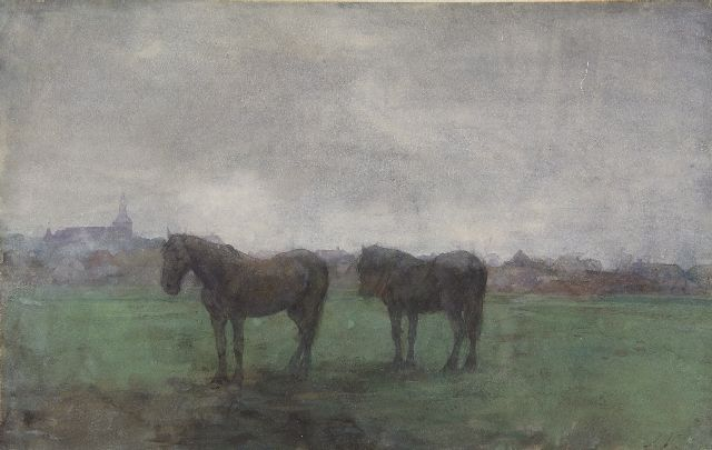 Jan Voerman sr. | Two horses in a meadow, near Hattem, watercolour on paper, 29.6 x 46.8 cm, signed l.r. with initials