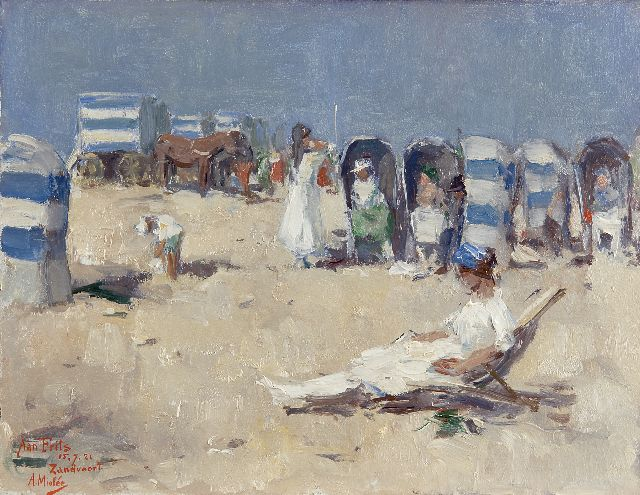 Adriaan Miolée | A day at the beach, Zandvoort, oil on board, 26.8 x 34.8 cm, signed l.l. and dated 15.7.21