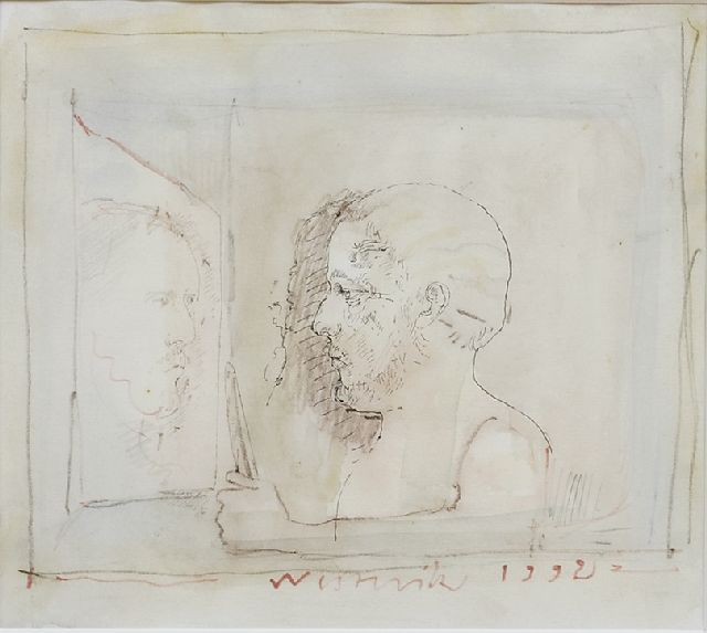 Co Westerik | Man with knife and mirror-reflection, watercolour, blackchalk and ink on Japanese paper, 19.0 x 21.0 cm, signed l.c. and dated 1992