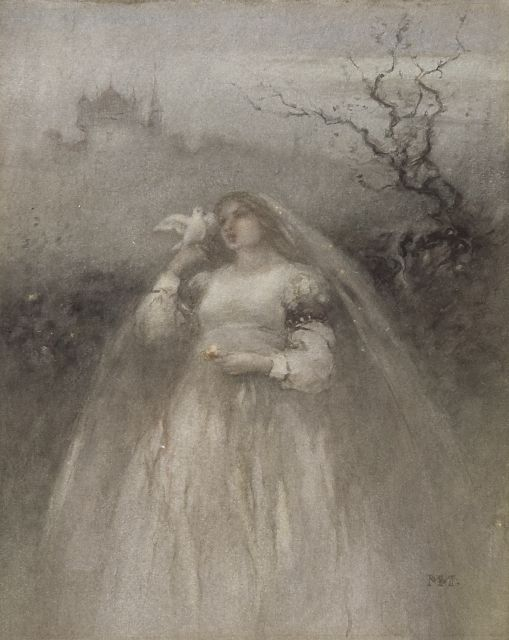 Matthijs Maris | The young bride, watercolour on paper, 27.7 x 22.3 cm, signed l.r. with monogram and painted ca. 1875-1876