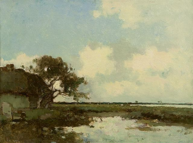 Knikker A.  | A Dutch polder landscape, oil on canvas 32.3 x 43.3 cm, signed l.l.