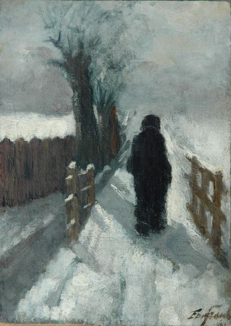 Eduard Frankfort | Figure in the snow, oil on canvas laid down on panel, 39.7 x 28.4 cm, signed l.r.