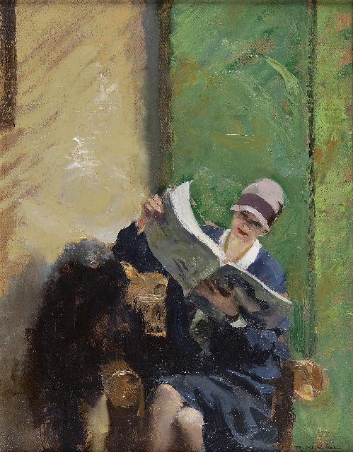 "Rudolf Nissl | A young woman, reading a magazine  ""das neue Journal"", oil on canvas, 45.0 x 35.0 cm, signed l.r."