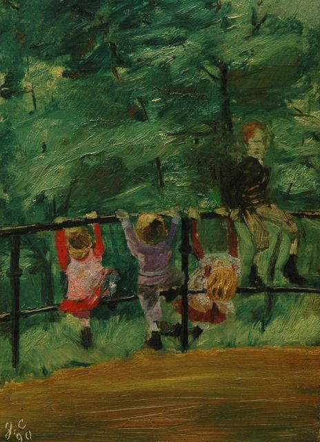 Duitse School | Children playing in the Hofgarten, Düsseldorf, oil on canvas laid down on board, 26.7 x 20.0 cm, signed signed 'g.c.' and dated '90