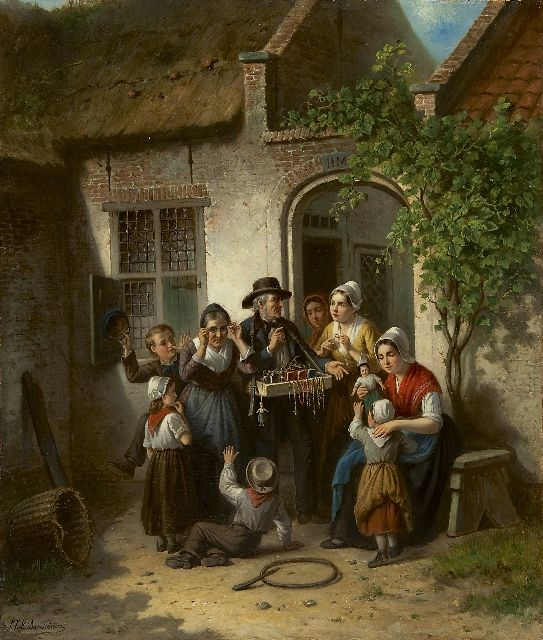 Jan Jacobus Matthijs Damschreuder | The peddler, oil on canvas laid down on board, 73.7 x 62.8 cm, signed l.l. and on a label on the stretcher and dated 1873 on a label on the stretcher