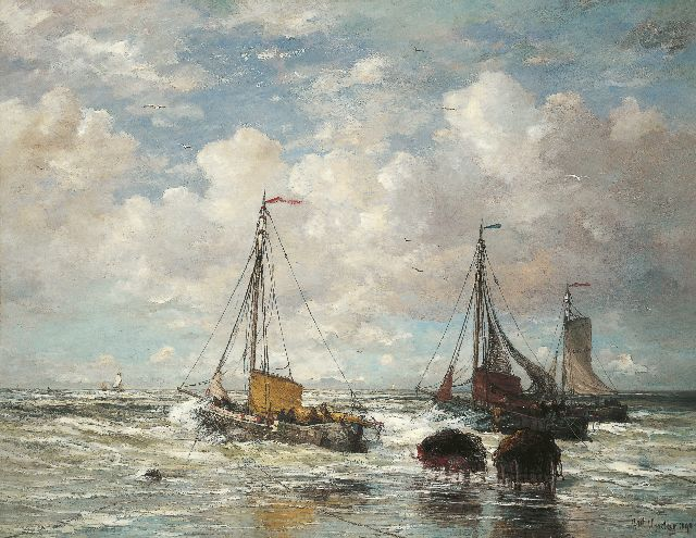 Hendrik Willem Mesdag | The departure of the fleet, Scheveningen, oil on canvas, 138.7 x 178.6 cm, signed l.r. and dated 1890