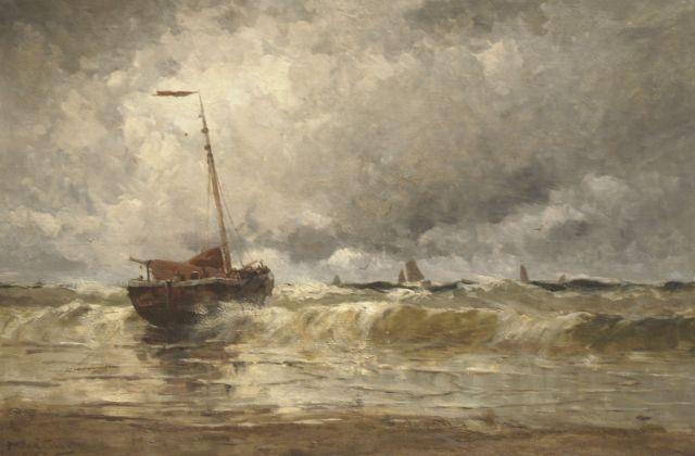 Willem Johannes Schütz | Moored fishing ships near the beach, oil on canvas, 80.5 x 120.4 cm, signed l.l. and dated 1880