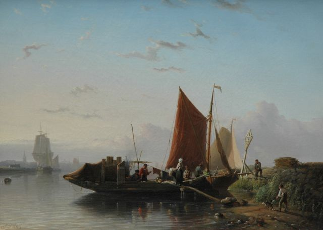 Johan Rust | The ferry, oil on canvas, 39.2 x 54.0 cm, signed l.l.