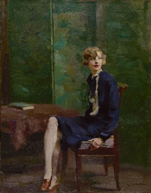 Rudolf Nissl | A young woman, seated  'blondes Mädchen', oil on canvas, 45.4 x 35.3 cm, signed l.r.