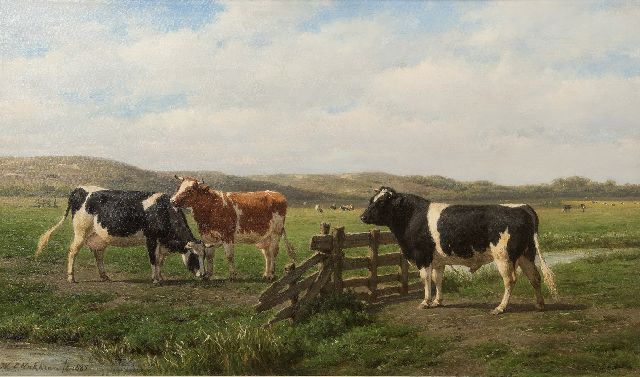 Willem Carel Nakken | Cows and a bull near a fence, oil on canvas, 42.4 x 72.5 cm, signed l.l. and dated 1885