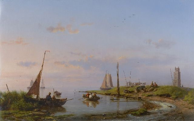 Hermanus Koekkoek | A fine day along the Zuiderzee, oil on canvas, 37.2 x 58.6 cm, signed l.r. and dated 1869